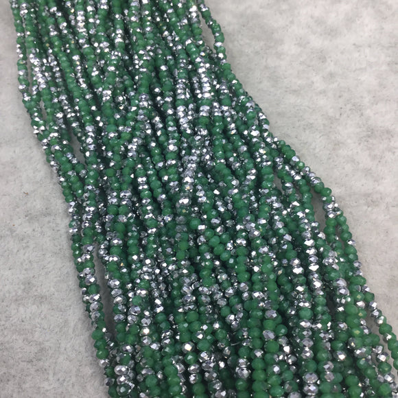 Chinese Crystal Beads | 2mm AB Metallic Finish Faceted Opaque Green Silver Rondelle Glass Beads