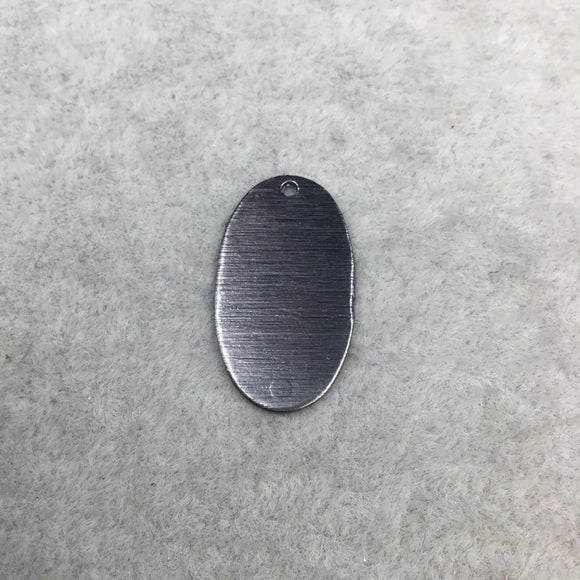 14mm x 25mm Gunmetal Brushed Finish Blank Oval Shaped Plated Copper Components - Sold in Pre-Counted Bulk Packs of 10 Pieces - (476-GM)