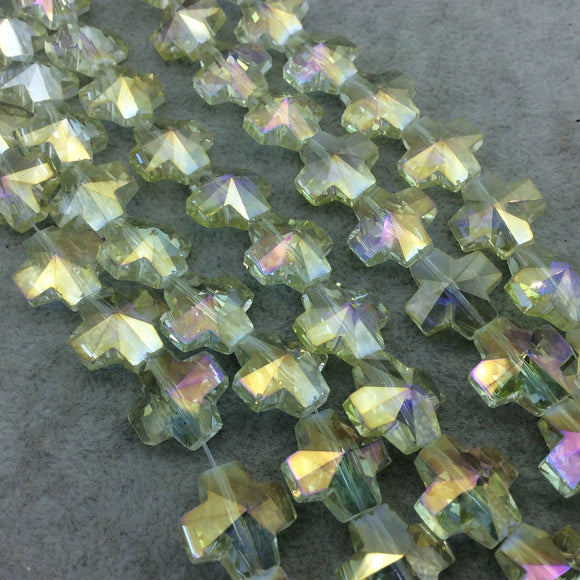 Chinese Crystal Beads | 13mm x 13mm Glossy Faceted Transparent Metallic Pale Yellow Crystal Glass Cross Shaped Beads
