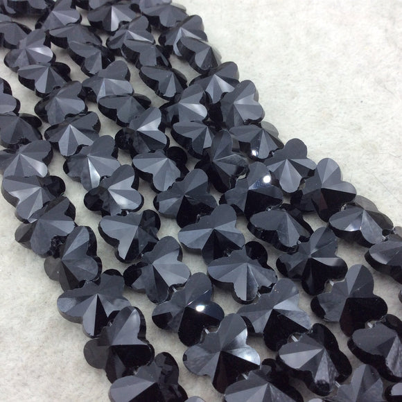 Chinese Crystal  Beads | 12mm x 15mm Glossy Faceted Black Crystal Glass Butterfly Shaped Glass Beads