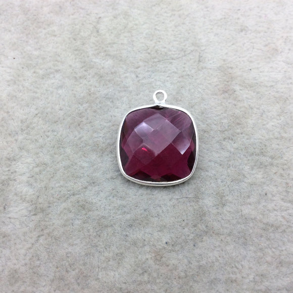Sterling Silver Faceted Magenta (Lab Created) Quartz Square Shaped Bezel Pendant - Measuring 18mm x 18mm - Sold Individually