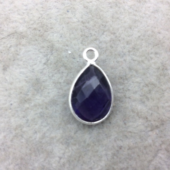 Sterling Silver Faceted Amethyst (Lab Created) Quartz Teardrop Shaped Bezel Pendant - Measuring 10mm x 15mm - Sold Individually
