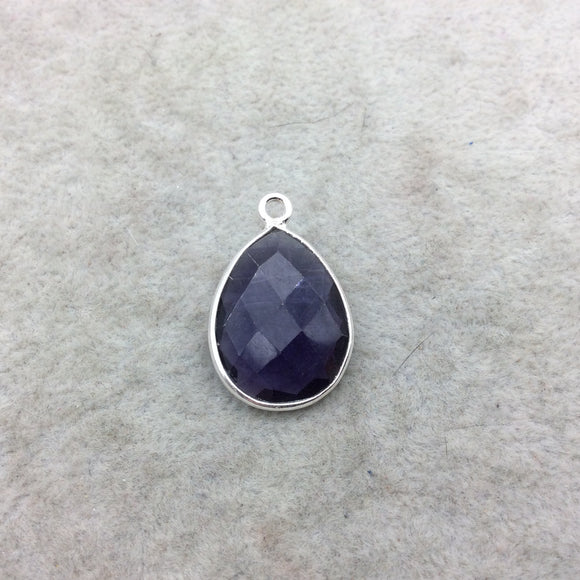Sterling Silver Faceted Amethyst (Lab Created) Quartz Teardrop Shaped Bezel Pendant - Measuring 15mm x 20mm - Sold Individually