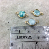 Gold Plated Natural Amazonite Faceted Round/Coin Shaped Copper Bezel Connector/Link - Measures 8mm x 8mm - Sold Individually, Random