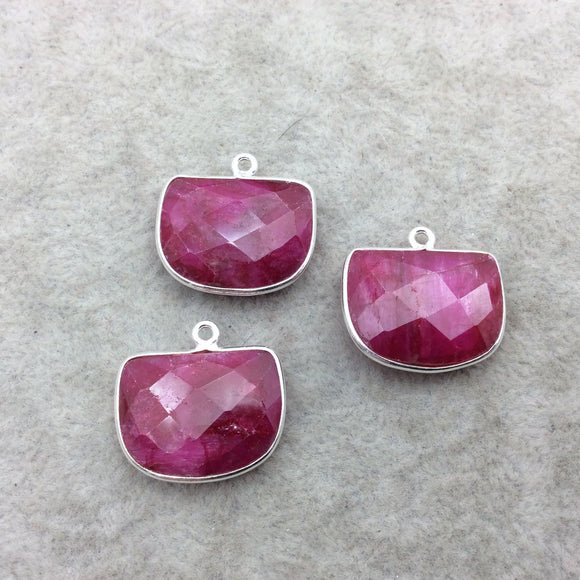 Sterling Silver Faceted Half Moon Shape Corundum/Ruby Bezel Pendant Component - ~ 16mm x 20mm - Natural  Semi-Precious Gemstone