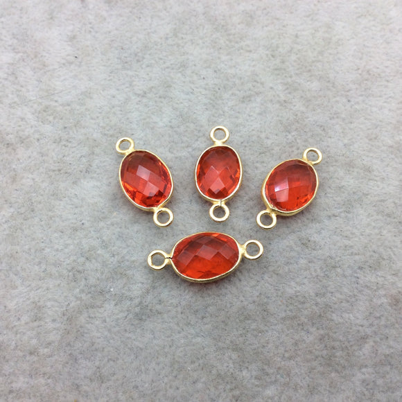 Gold Vermeil Faceted Orange Hydro (Lab Created) Quartz Oval Shaped Bezel Connector - Measuring 10mm x 14mm - Sold Individually