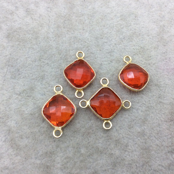 Jeweler's Lot Gold Vermeil Faceted Orange Hydro (Lab Made) Quartz Assorted 4 Bezel Pendants/Connectors ~ 15mm x 15mm - Sold As Shown