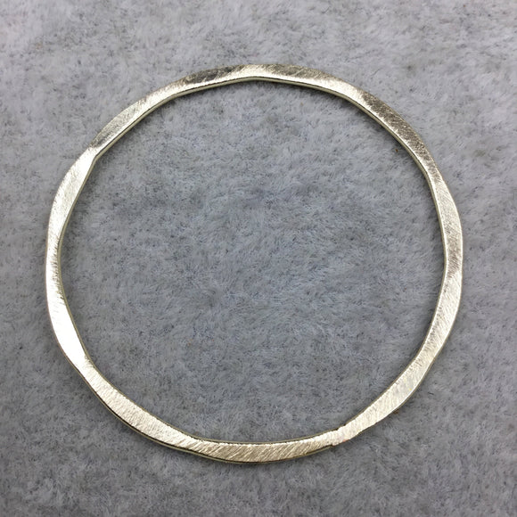 49mm Gold Brushed Finish Open Hammered Circle/Ring/Hoop Shaped Plated Copper Components - Sold in Packs of 10 Pieces - (487-GD)