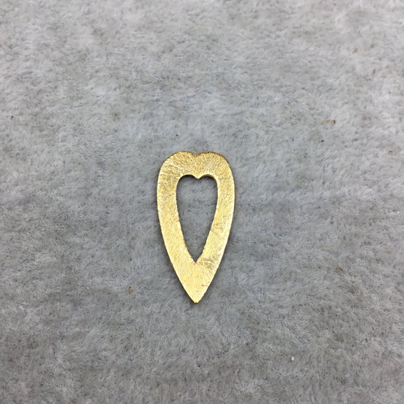 12mm x 25mm Small Gold Brushed Plated Copper Thick open Heart Shaped Un-drilled Components - Sold in Packs of 10 (498-GD)