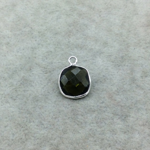 Sterling Silver Faceted Dark Olive (Lab Created) Quartz Square Shaped Bezel Pendant - Measuring 12mm x 12mm - Sold Individually
