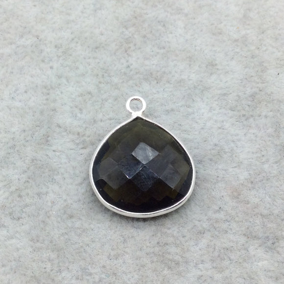 Sterling Silver Faceted Dark Olive (Lab Created) Quartz Heart/Teardrop Shaped Bezel Pendant - Measuring 18mm x 18mm - Sold Individually