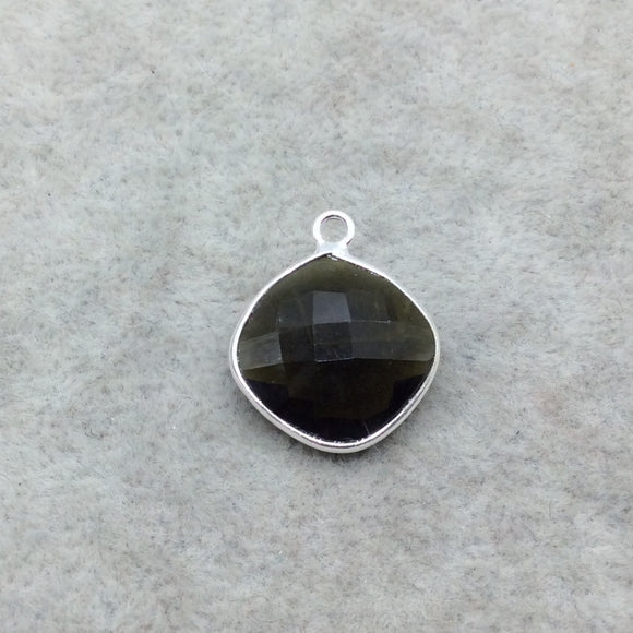 Sterling Silver Faceted Dark Olive (Lab Created) Quartz Diamond Shaped Bezel Pendant - Measuring 15mm x 15mm - Sold Individually