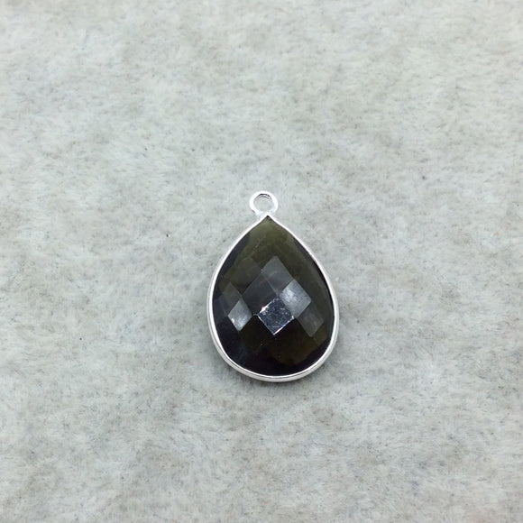 Sterling Silver Faceted Dark Olive (Lab Created) Quartz Teardrop Shaped Bezel Pendant - Measuring 15mm x 20mm - Sold Individually