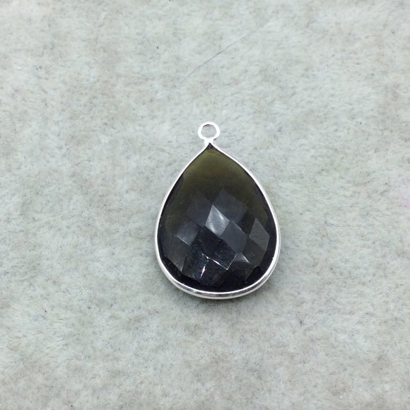 Sterling Silver Faceted Dark Olive (Lab Created) Quartz Teardrop Shaped Bezel Pendant - Measuring 18mm x 25mm - Sold Individually