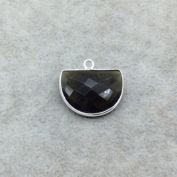 Sterling Silver Faceted Dark Olive (Lab Created) Quartz Half Moon Shaped Bezel Pendant - Measuring 16mm x 20mm - Sold Individually