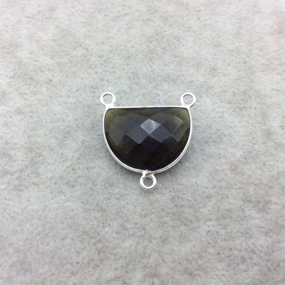 Sterling Silver Faceted Dark Olive (Lab Created) Quartz Half Moon Shaped Bezel 3 Ring Connector - Measuring 16mm x 20mm - Sold Individually