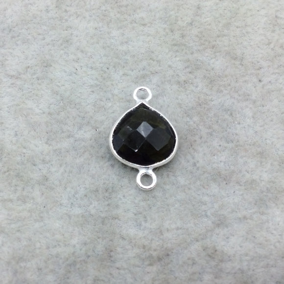 Sterling Silver Faceted Dark Olive (Lab Created) Quartz Heart Shaped Bezel Connector - Measuring 12mm x 12mm - Sold Individually