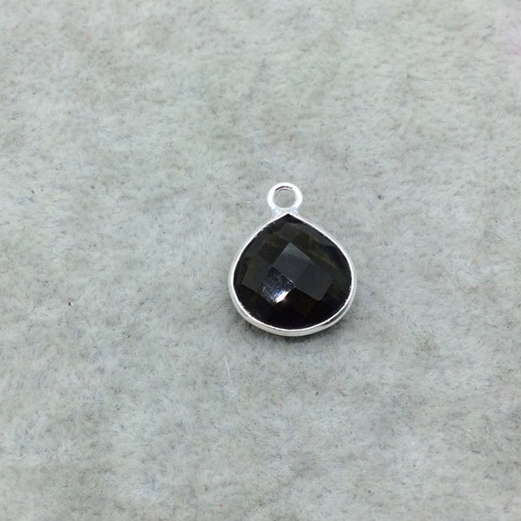 Sterling Silver Faceted Dark Olive (Lab Created) Quartz Heart Shaped Bezel Pendant - Measuring 12mm x 12mm - Sold Individually