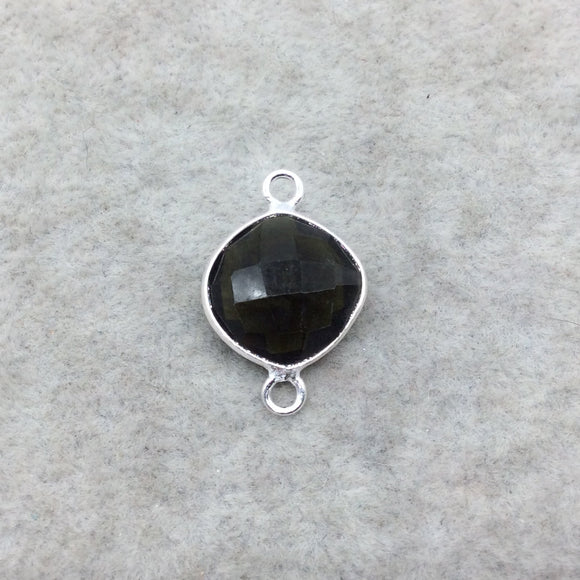 Sterling Silver Faceted Dark Olive (Lab Created) Quartz Diamond Shaped Bezel Connector - Measuring 12mm x 12mm - Sold Individually