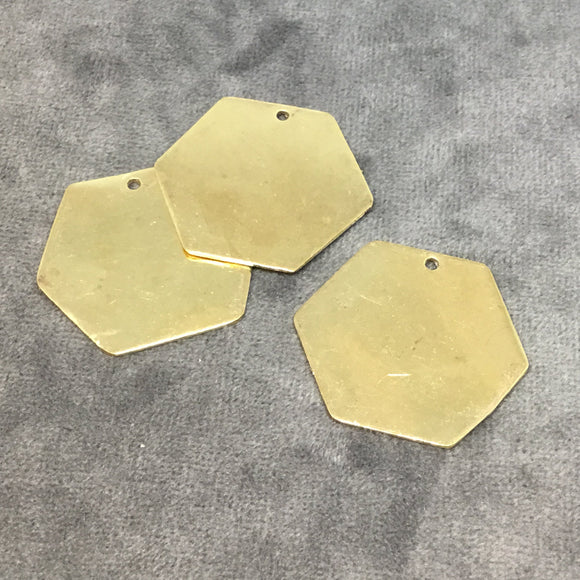 30mm x 33mm Gold Plated Brass Rustic Handmade Hexagon Blank Pendant/Charm with One 1.5mm Drilled Hole - Hand-Cut, Sold Individually