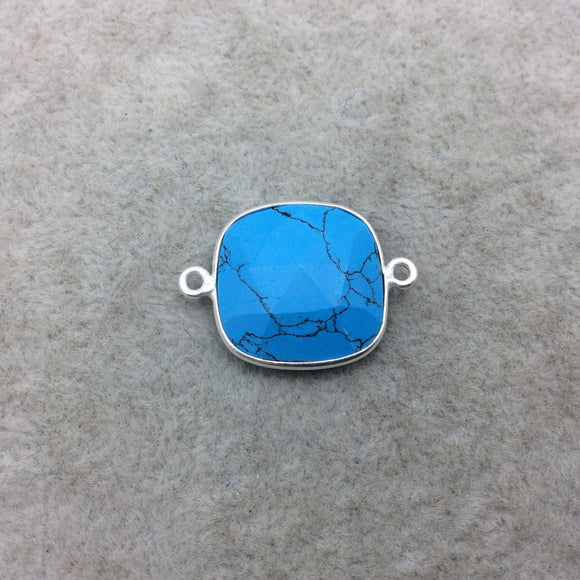 Sterling Silver Faceted Flat Back Dyed Veined Blue Howlite Square Shaped Bezel Connector - Measuring 18mm x 18mm - Sold Individually