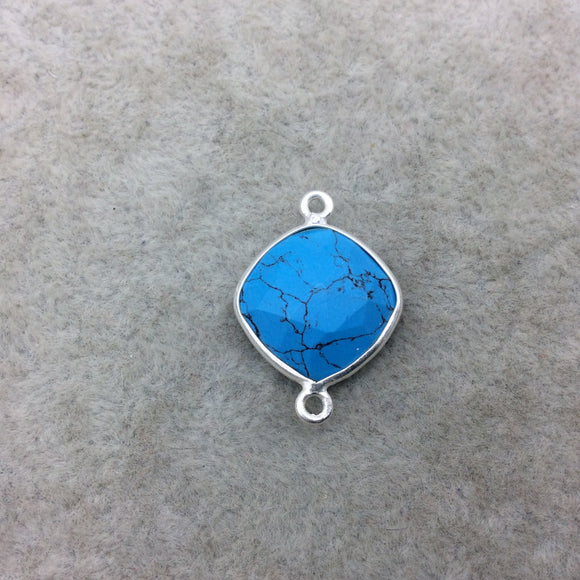 Sterling Silver Faceted Flat Back Dyed Veined Blue Howlite Diamond Shaped Bezel Connector - Measuring 15mm x 15mm - Sold Individually