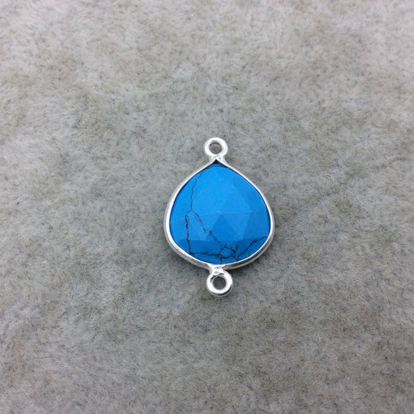 Sterling Silver Faceted Flat Back Dyed Veined Blue Howlite Heart Shaped Bezel Connector - Measuring 15mm x 15mm - Sold Individually