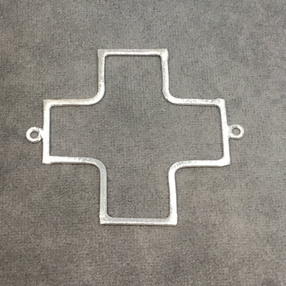 Large Silver Plated Copper Open SQUARED Cross/Plus Sign Shape Connector Components - ~ 52mm x 52mm - Sold in Packs of 10 (194-SV)