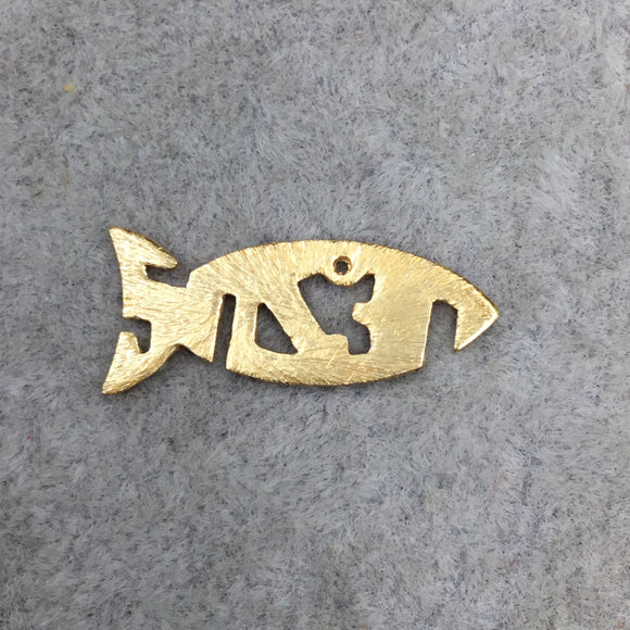 Gold Brushed Abstract Jesus Fish Shaped Center Cutout Gold Finish Pendant Components - Measuring 23mm x 10mm - Sold in Packs of 10 (443-GD)