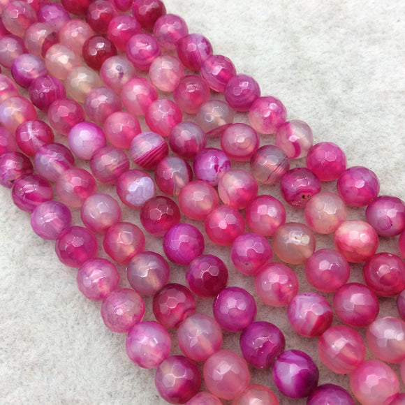 8mm Faceted Mixed Fuchsia Pink/Clear Agate Round/Ball Shaped Beads - 15