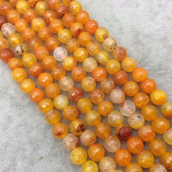 8mm Faceted Mixed Yellow/Orange Agate Round/Ball Shaped Beads - 14.75