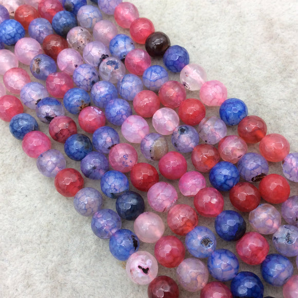 8mm Faceted Mixed Purple/Pink/Blue Agate Round/Ball Shaped Beads - 15