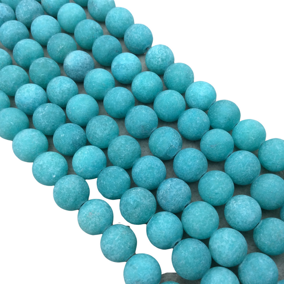 10mm Natural Matte Dyed Opaque Teal Green Agate Round/Ball Shaped Beads with 1mm Holes - 15