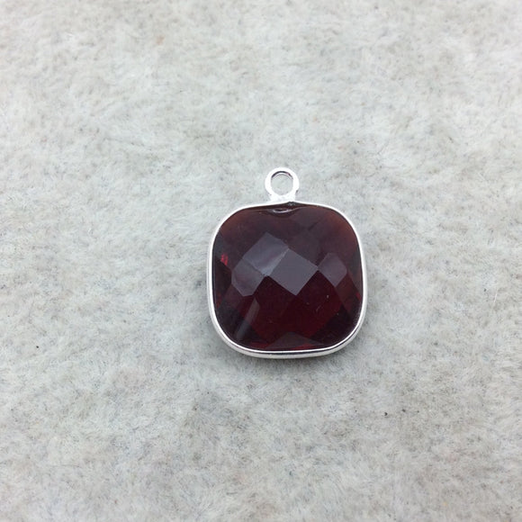 Sterling Silver Faceted Deepest Red (Lab Created) Quartz Square Shaped Bezel Pendant - Measuring 15mm x 15mm - Sold Individually
