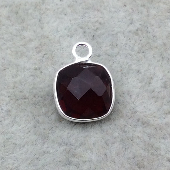 Sterling Silver Faceted Deepest Red (Lab Created) Quartz Square Shaped Bezel Pendant - Measuring 10mm x 10mm - Sold Individually