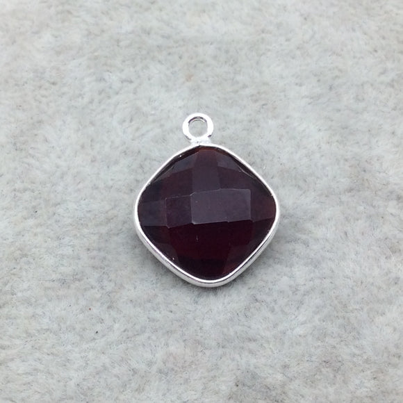 Sterling Silver Faceted Deepest Red (Lab Created) Quartz Diamond Shaped Bezel Pendant - Measuring 15mm x 15mm - Sold Individually