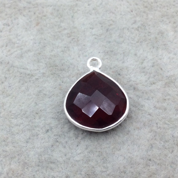 Sterling Silver Faceted Deepest Red (Lab Created) Quartz Heart Shaped Bezel Pendant - Measuring 15mm x 15mm - Sold Individually