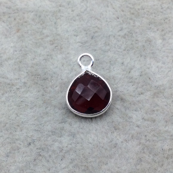 Sterling Silver Faceted Deepest Red (Lab Created) Quartz Heart Shaped Bezel Pendant - Measuring 10mm x 10mm - Sold Individually