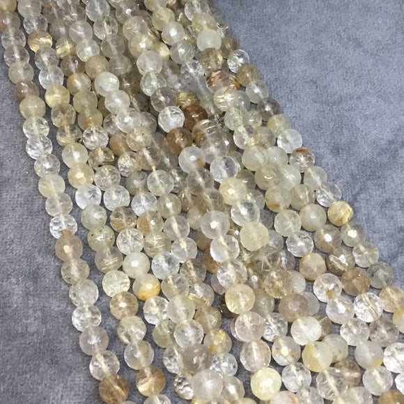 6mm Faceted Natural Golden Rutilated Quartz Round/Ball Shaped Beads - Sold by 14