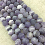"12mm Matte Natural Purple Amethyst Round/Ball Shaped Beads with 1mm Holes - 15.25"" Strand (Approx. 33 Beads per Strand) - Quality Gemstone"