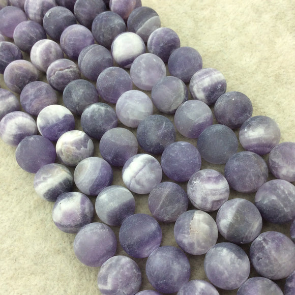 12mm Matte Natural Purple Amethyst Round/Ball Shaped Beads with 1mm Holes - 15.25