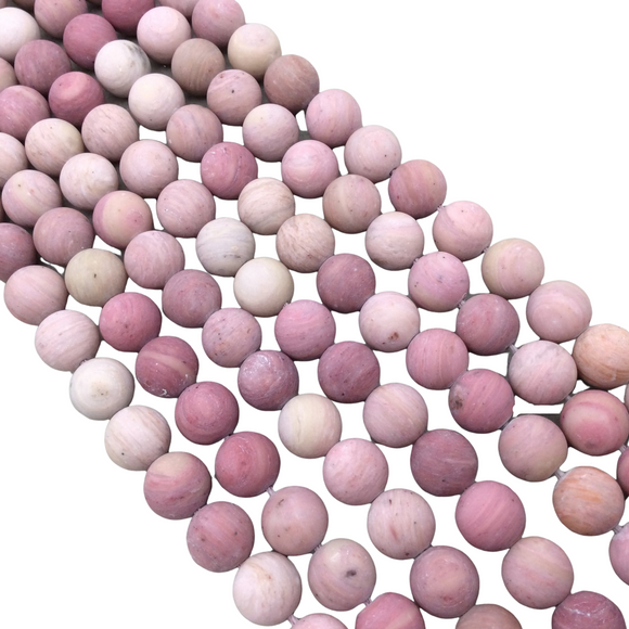 10mm Smooth Matte Finish Natural Rose Pink Rhodonite Round/Ball Shaped Beads with 1mm Holes - Sold by 15.5