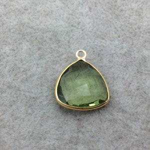 Gold Vermeil Faceted Pale Green Hydro (Lab Created) Quartz Trillion Shaped Bezel Pendant - Measuring 15mm x 15mm - Sold Individually