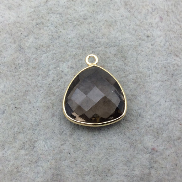 Gold Vermeil Faceted Smoky Brown Hydro (Lab Created) Quartz Trillion Shaped Bezel Pendant - Measuring 15mm x 15mm - Sold Individually