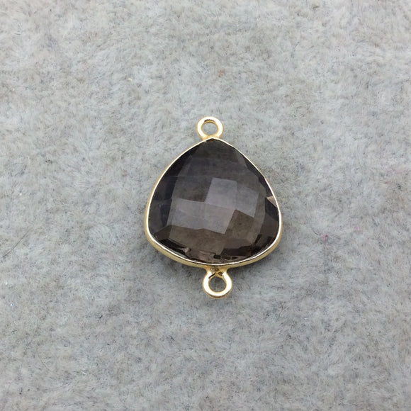 Gold Vermeil Faceted Smoky Brown Hydro (Lab Created) Quartz Trillion Shaped Bezel Connector - Measuring 15mm x 15mm - Sold Individually