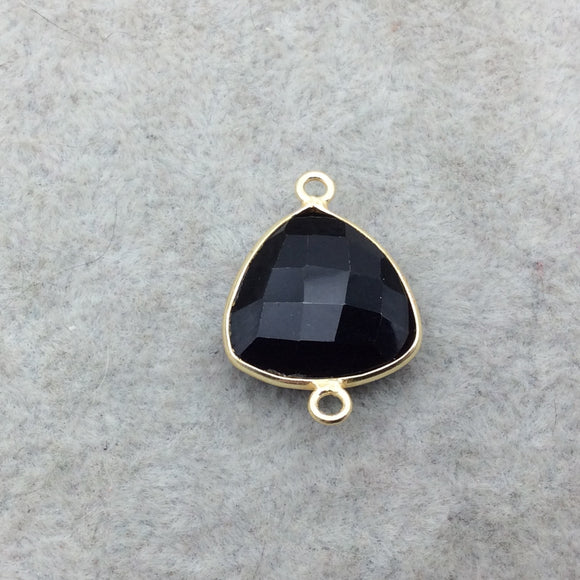 Gold Vermeil Faceted Jet Black Hydro (Lab Created) Chalcedony Trillion Shaped Bezel Connector - Measuring 15mm x 15mm - Sold Individually