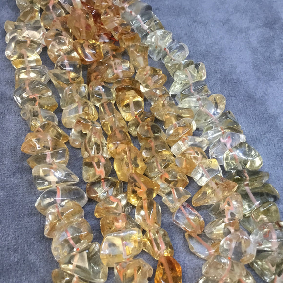 6-7mm x 8-10mm Natural Citrine Smooth Chunk/Nugget Beads - 7.75