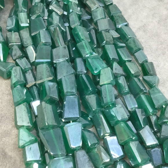 8-10mm x 10-13mm Mystic Natural Green Onyx Faceted Nugget Beads - 13