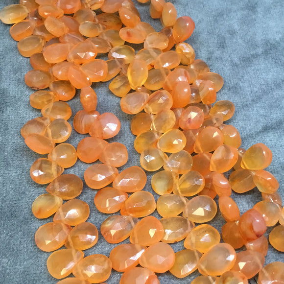 5-6mm x 7-9mm Faceted Pear/Teardrop Shaped Orange Carnelian Beads - 8.5