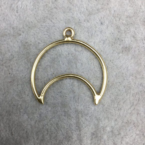 28mm x 30mm Gold Plated Copper Open Crescent Shaped Pendant Components (One Ring) - Sold in Bulk Packs of 10 (500-GD)
